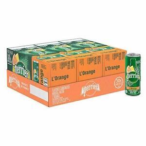 Perrier L'Orange Flavored Carbonated 8.45 Fl Oz (Pack of 30), Lemon Orange
