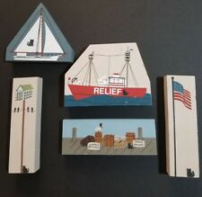 Cats Meow 5 Piece Lot, Skipjack, Relief, Pier, Martin House, Us Flag