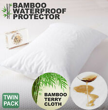 2x Waterproof Bamboo Terry Breathable Pillow Protector Cover Altern to Cotton