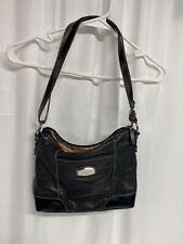 Tignanello Crossbody Black Pebble Leather Organizer Handbag Bag Purse Distressed