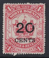 NORTH BORNEO 1895 20c on $1 scarlet sg89 mint no gum