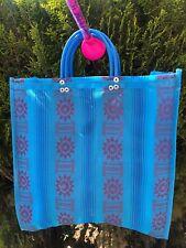 Light Blue Shopping Market Mexican Bag. Mesh Medium Reusable Beach Tote.