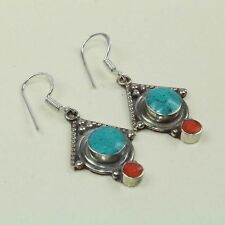 New Arrival Party Wear Ethnic Turquoise & Red Coral Tibetan Earring NE-7195