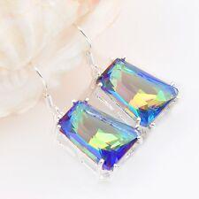 Gorgeous Shiny Trapezoid Design Rainbow Mystic Topaz Silver Woman Hook Earrings