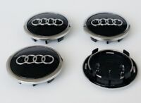 4 X AUDI ALLOY WHEEL CENTRE CAPS 69MM A3 A4 A5 A6 S LINE TT Q3 Q5 BLACK/CHROME
