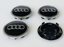4 X AUDI ALLOY WHEEL CENTRE CAPS 69MM A3 A4 A5 A6 S LINE TT Q5 BLACK