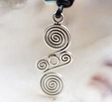 Lang 980er Silber Spirale Anhänger Amulett Kelten Keltisch Spiralen Kreise Glanz