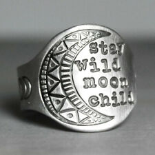 Women Retro 925 Silver Stay Wild Moon Child Band Ring Wedding Jewelry Sz 5-10