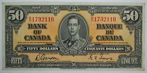 1937 BANK OF CANADA FIFTY DOLLARS B/H 1732116 GORDON TOWERS BC-26b NOTE