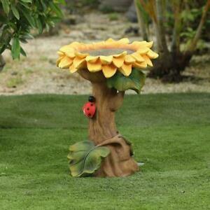Luxen Home Polyresin Yellow Sunflower Bird Bath