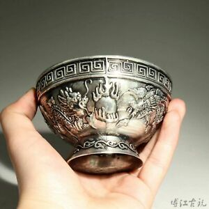 Collection China Miao Silver Hand-Carved Myth Dragon & Phoenix Auspicious Bowl