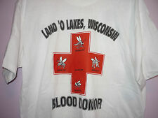 NWT Vintage 80s Land O Lakes WI Blood Donor Mosquito Horse Fly T Shirt White XL