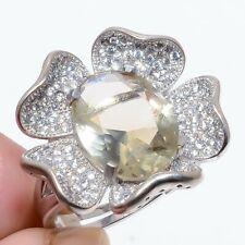 925 Silver Flower Ring s.Ad R468-235 Smokey Quartz & White Topaz White Rhodium