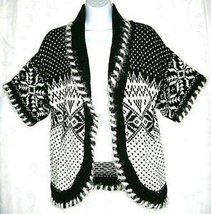 Westbound Snowflake Black White Knit Women's Knit Sweater Cardigan Medium Petite