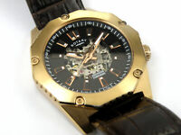 Mens Rotary GS03602/A/04 Skeleton Automatic Rose Gold Case Watch - 100m