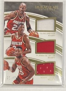 Hakeem Olajuwon Clyde Drexler Horry JERSEY 2015-16 Immaculate Collection #21/49