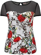 Joe Browns Sz 12 Vintage TOP Black White Red Floral Print Mesh Sleeve £32 Party
