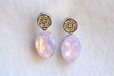Pink Silver vintage crystal Swarvoski element cocktail Fashion Earring