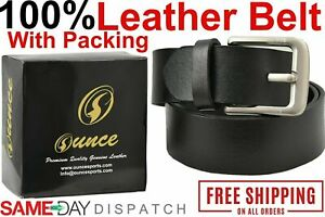 0Mens Genuine Leather Belt Belts With Classic Silver Buckle Brown Black US STOCK