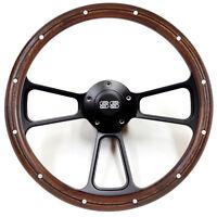 "14"" Mahogany / Black Billet Steering Wheel with SS Horn for 1968 Camaro - Kit"