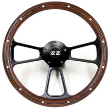 "14"" Mahogany / Black Billet Steering Wheel with SS Horn for 1968 Camaro - Kit"