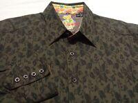 Robert Graham Mens XL L/S Button-Front Multicolor Floral Flip Cuff Shirt
