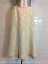 SIZE 10 PER UNA PURE LINEN CREAM SKIRT FLORAL BROCADE WEDDING PARTY SPRING