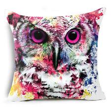 Cushion Cover Sofa Pillow Case OWL Watercolor 45cm x 45cm Linen Cotton NEW
