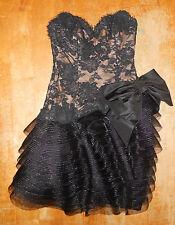vintage Victor Costa I Magnin black lace strapless cocktail party dress 4