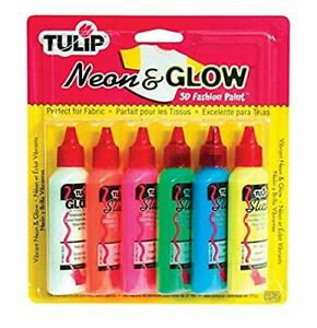 I Love To Create Tulip 3D Fashion Paint, 1.25-Ounce, Neon and Glow, 6 Per Packag