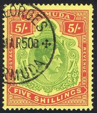 Bermuda 1938 SG118f 5/- Green and Red Perf 13 10th Printing Superb Used