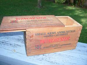 WINCHESTER 22 Long Rifle Bullet Ammunition Slide-Lid Wooden Box Empty NO RESERVE
