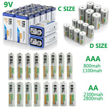 Lot EBL AA AAA C D Size Battery 9V Volt 6F22 Rechargeable Batterie Ni-MH/Li-ion