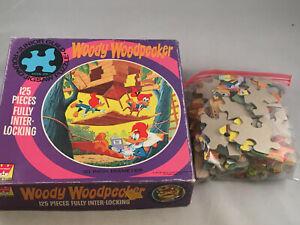 "1971 Walter Lantz Woody Woodpecker ROUND 20"" Jigsaw Puzzle 125 Pieces-EB224"