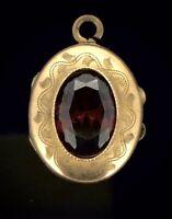 Antique Victorian Locket Pendant Hinged Garnet Paste Stone Extraordinary C.1890s