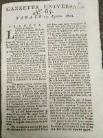 1802 GAZZETTA UNIVERSALE: PROCLAMAZIONE DI NAPOLEONE COME PRIMO CONSOLE A VITA