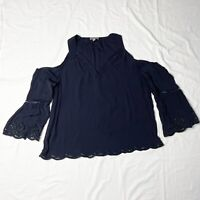 Sussan Cold Shoulder Top Size 14 Navy Blue Relaxed Fit V Neck Bell Sleeve
