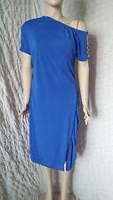 Escada royal blue formal gattered dress with side shoulder bracelet detail sz 36