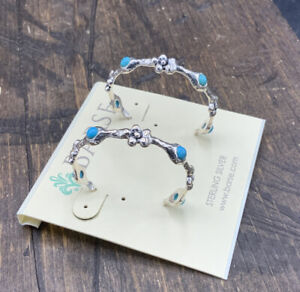 Barse BellaFleur Hoops-Turquoise & Sterling Silver- New With Tags