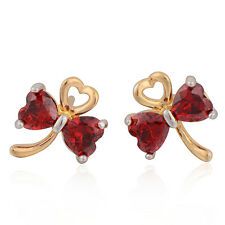 Stunning 9K 2-Tone  Gold Filled Red CZ Bbutterfly Women's Stud Earrings,14ER0654