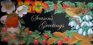 CHARITY CHRISTMAS CARD - GREETINGS - ROBIN - WREN - SNOWDROP - BERRIES - SINGLE