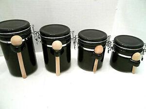 Black Ceramic Kitchen Canister Sets For Sale Ebay