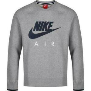 Nike Air AW77 Crew Neck Grey Jumper for Men Top Sport Casual Gym Brand New