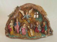 HANDPAINTED Ceramic NATIVITY Scene GREECE Diorama CHRISTMAS CRECHE Manger 12x8