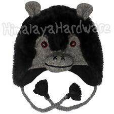 Knit Gorilla Hat: wool monkey face animal beanie black fur hair chimpanzee ape
