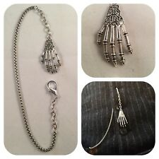 pocket watch chain Memento mori skeleton hand