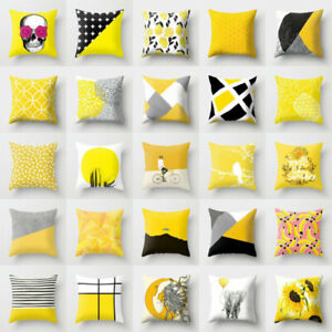 Cotton Case Waist Car Decor Yellow Cushion Sofa Pillow Throw Linen Cover Home