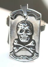 New Stainless Steel 316L Silver Black Skull Square Pendant Necklace USA Seller