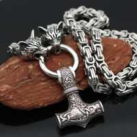 Norse Viking Thor hammer Mjolni Pendant Stainless Steel Wolf Chain Necklace Gift
