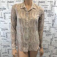 J Crew Womens Shirt Tan Pink Blue Paisley Button Front Long Sleeve Size 2